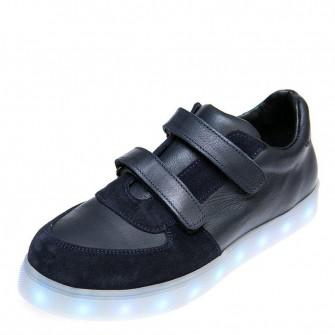 Кроссовки LED OCAK 104(02)синяя кожа/замш (31-36)