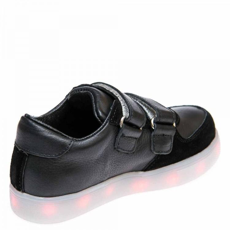 Кроссовки LED OCAK 104(01)чёрная кожа/замш (31-36)