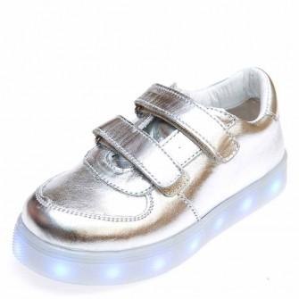 Кроссовки LED OCAK 104(04)серебро кожа (31-36)