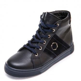 Ботинки д/с Minibel 336 PP (26-30) темно-синие шнурок