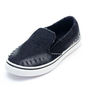 Слипоны 6057 Черный джинс
