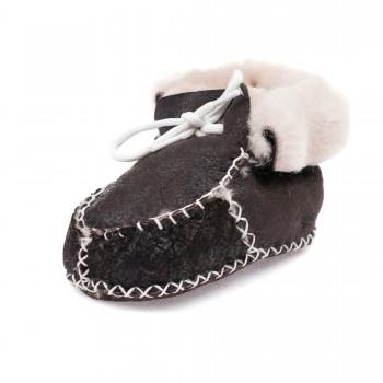 Пинетки зима Ankara baby черные белый мех