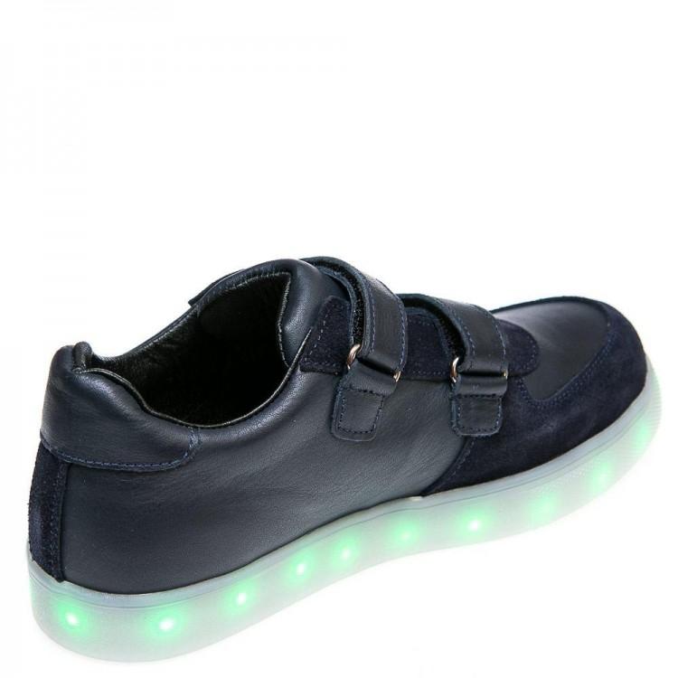 Кроссовки LED OCAK 104(02)синяя кожа/замш (26-30)