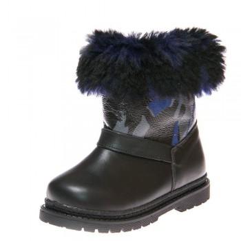 Зимние ботинки Panda 1300(31) чёрные с синим мехом
