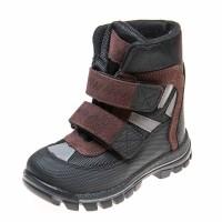 Термо ботинки зима 329(602) чёрные/коричн