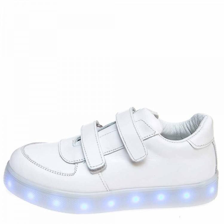 Кроссовки LED OCAK 104(05)белая кожа (26-30)