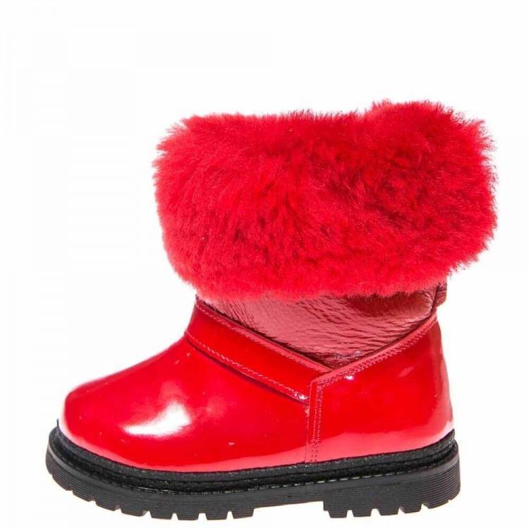 Зимние ботинки Panda 1300(02) красные лак