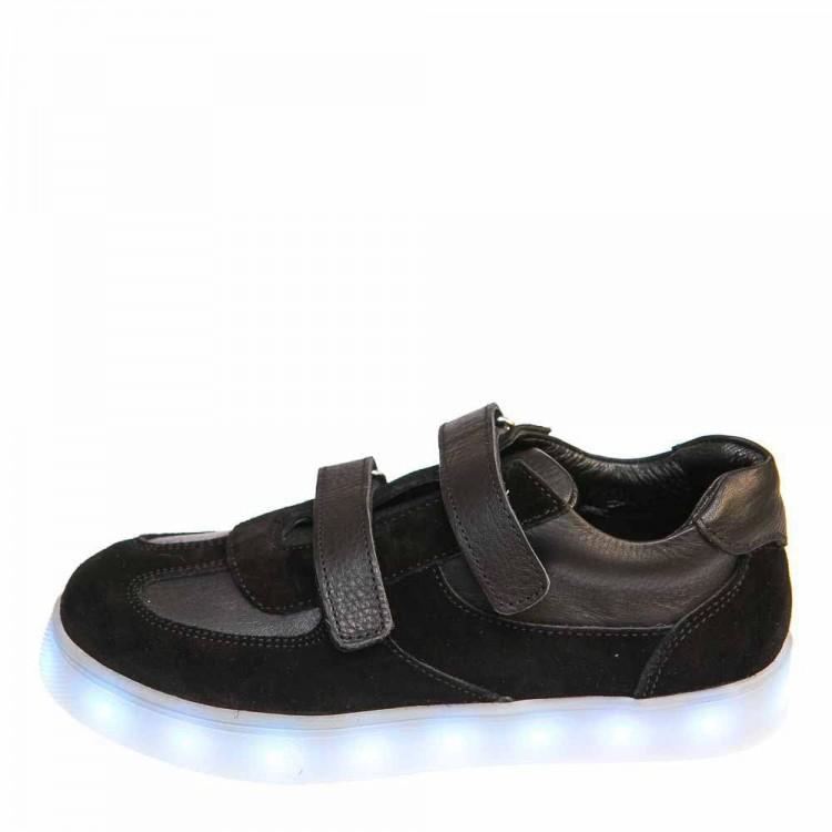 Кроссовки LED OCAK 102(01)чёрная кожа/замша