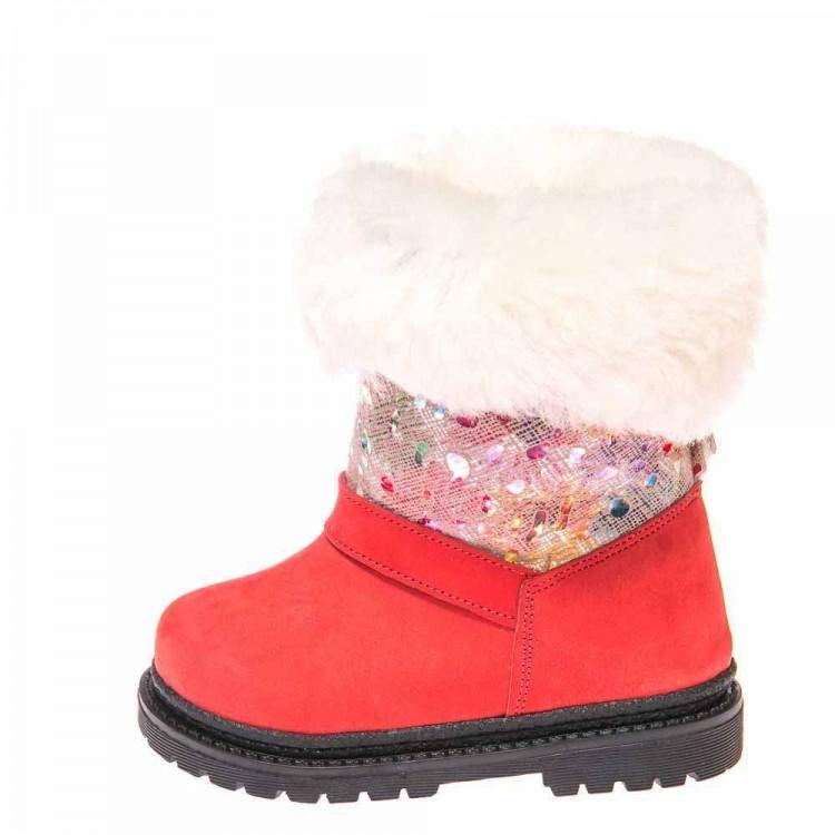 Зимние ботинки Panda 1300(21-209) красные белый мех