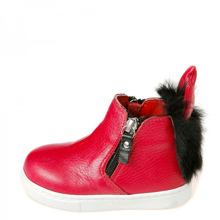 Зимние ботинки Minibel T544(1)красная кожа