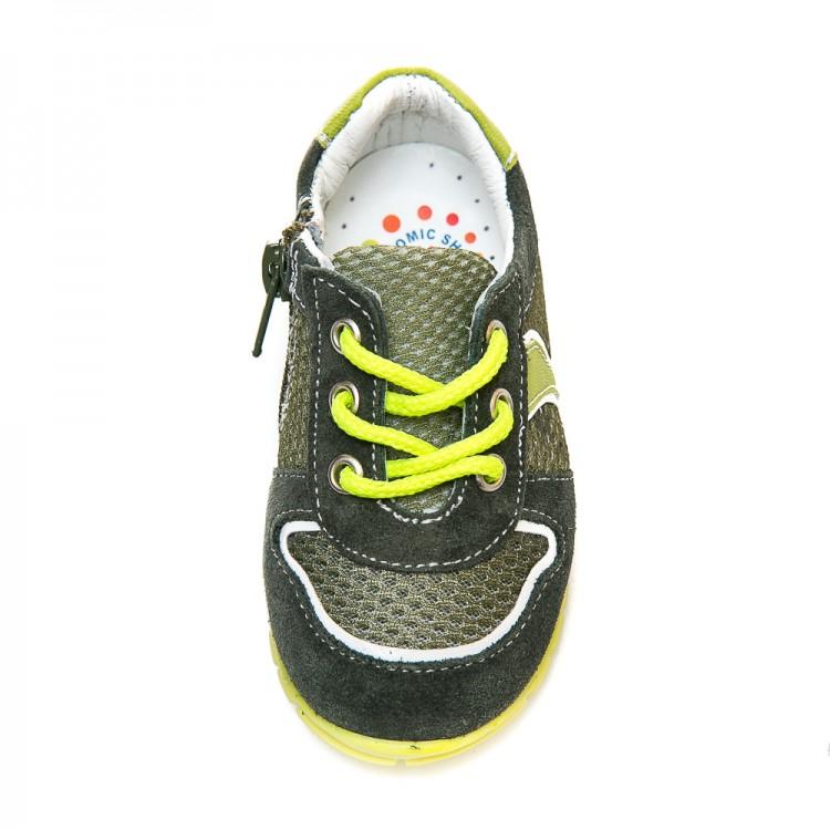 Кроссовки minipicco A1822 хаки замш с желтым (19-23)