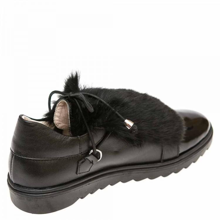 Туфли Panda 025906(12) чёрный мех\лак (31-36)