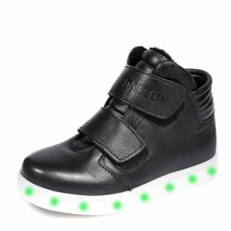Ботинки д/с LED 4000(04)чёрн.лип