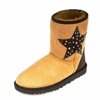 Угги Ankara звезда жёлтая замша