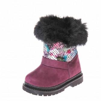 Зимние ботинки Panda 1300(70-207) бордо/цветы