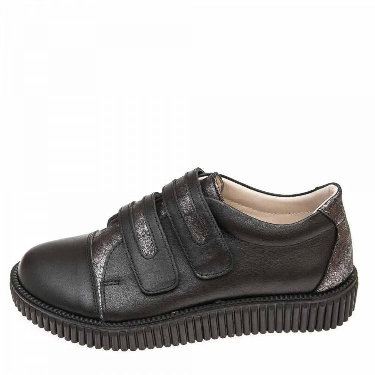 Туфли Panda 0251009(1) чёрные кож\серебро (31-36)