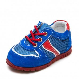 Кроссовки A1822 синий замш с красным