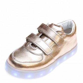 Кроссовки LED OCAK 104(03)золото кожа