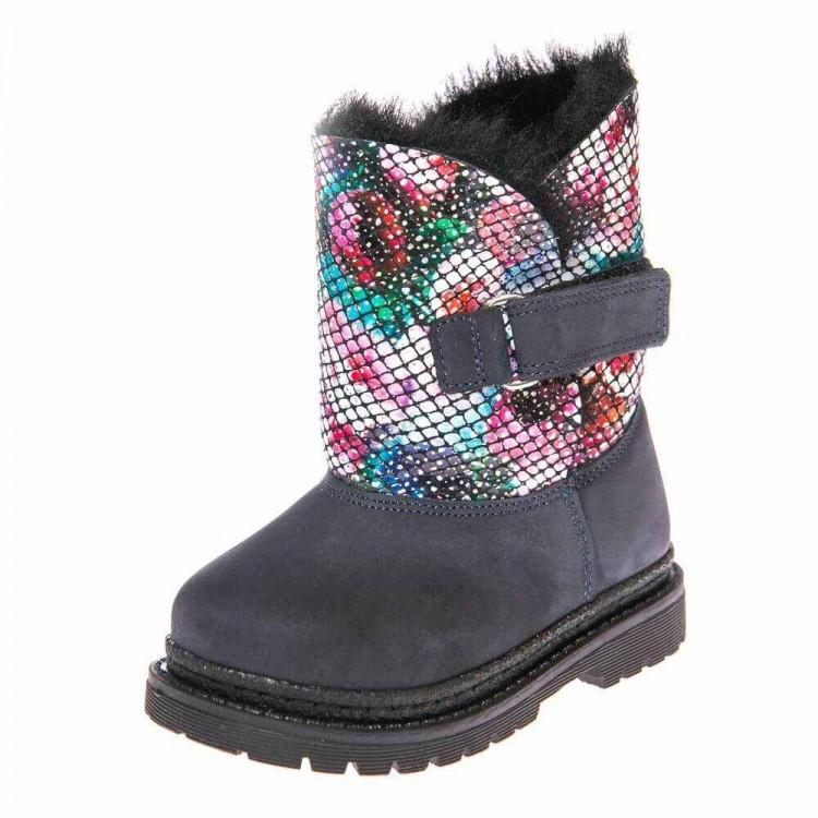 Зимние ботинки Panda 1300(37-207) синий /цветы