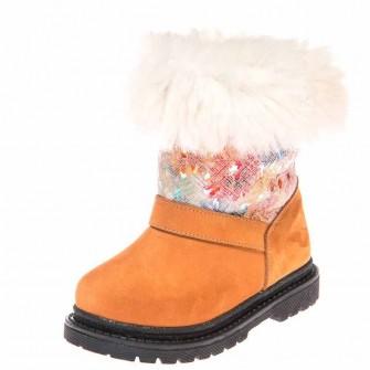 Зимние ботинки Panda 1300(41-209) рыжий/цветы