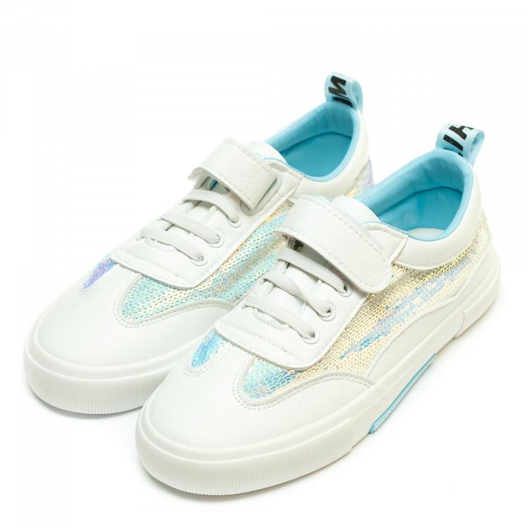 Кеды Fashion B-1295(31-37)белые голуб. пайетка