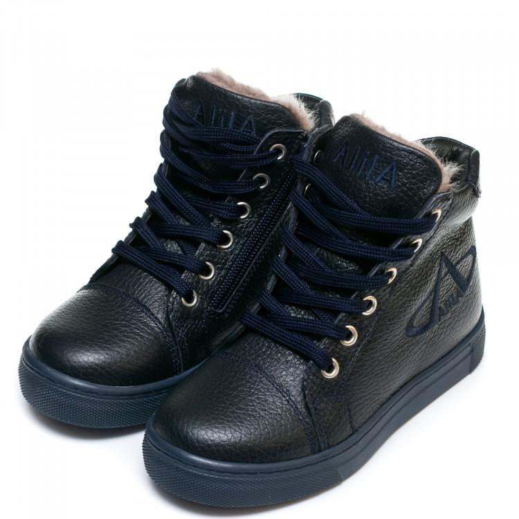 Ботинки зима AlilA Z343SR шнурок темно-синие (26-30)